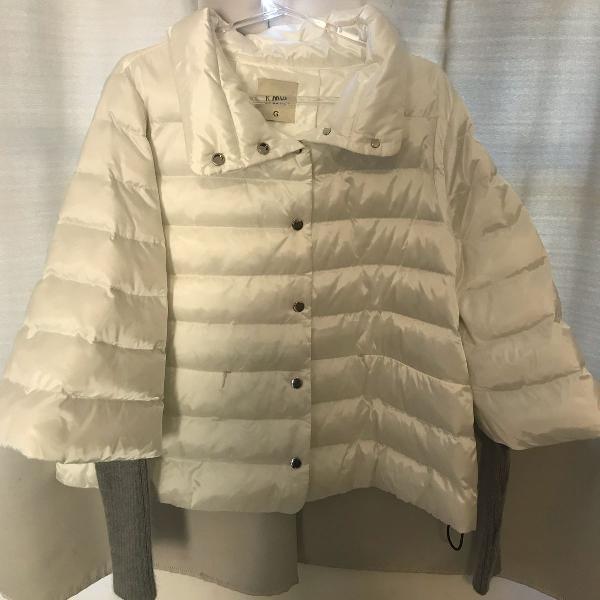 Casaco branco nylon com mangas kiwi