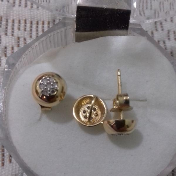 Conjunto ouro 18k com diamantes