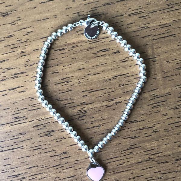 Pulseira de prata tiffany coração rosa