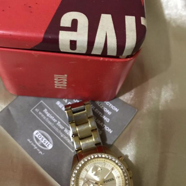 Relógio fóssil usado original com certificado de garantia