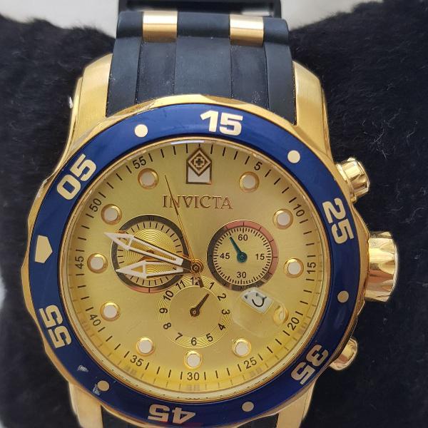 Relógio invicta pro diver dourado com pulseira preta
