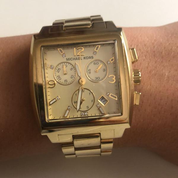 Relógio original michael kors feminino dourado