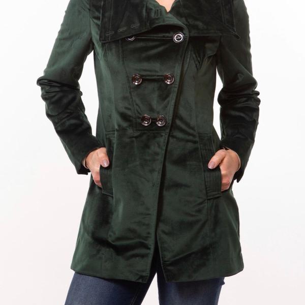 Trench coat veludo verde escuro