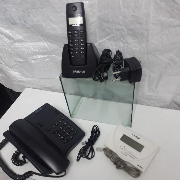 2 telefones sem fio, com fio e bina