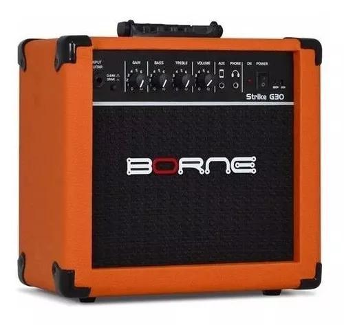 Amplificador cubo guitarra g30 laranja borne c/ distorção