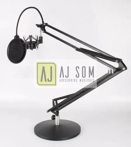 Braço articulado c/base de ferro p/mesa rádio,studio-100