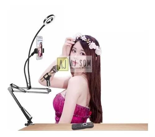 Braço articulado,haste flexível p/microfone celular + led