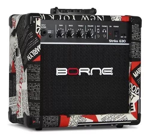 Cubo para guitarra e violão borne strike g30 hollywood