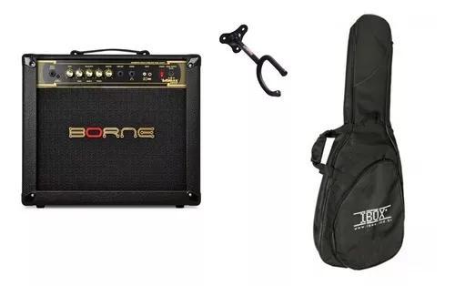 Kit de acessorios musicais + amplificador borne 1050 preto