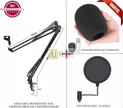 Kit pedestal articulado,braço de microfone 112 cm+pop