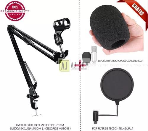 Pedestal articulado,haste flex microfone,estúdio+pop filter