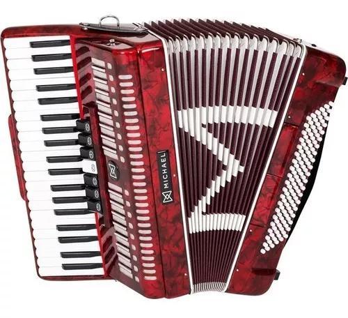 Sanfona acordeon 120 baixos michael acm12007n prd com case