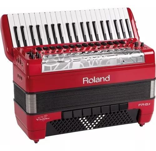 Sanfona acordeon roland fr8x elétrico fr-8x vermelho com