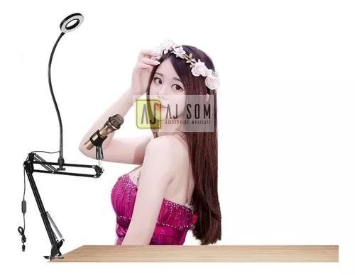 Suporte articulado,braço flexível p/microfone + ring light