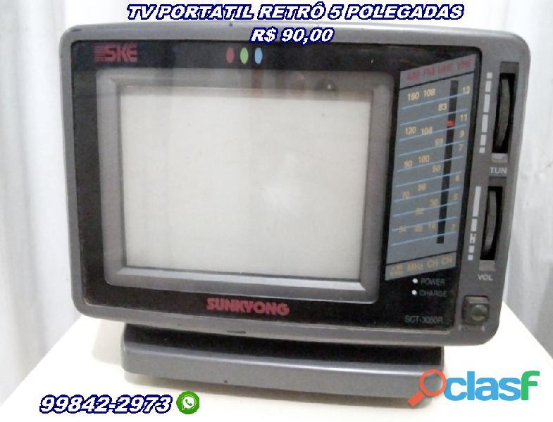 Tv portátil retrô 5 polegadas