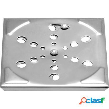 Grelha quadrada em aço inox 9,5x9,5 para banheiro com sistema abre e fecha