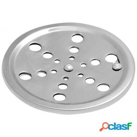 Grelha redonda em aço inox 10x10 para banheiro com sistema abre e fecha