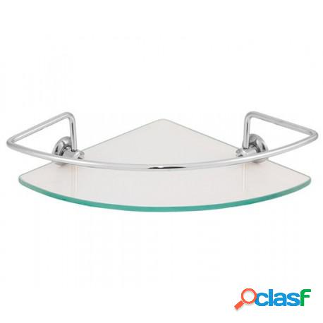 Porta shampoo de canto 21cm de raio com vidro cristal (transparente) de 6mm