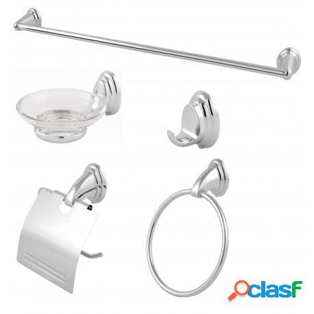 Kit acessórios para banheiro square redondo metal cromado