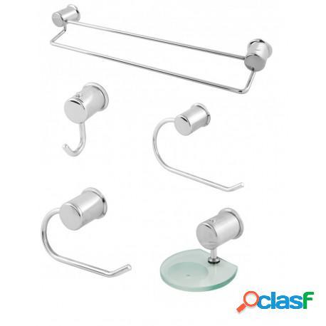 Kit acessórios para banheiro novara duplo em alumínio polido