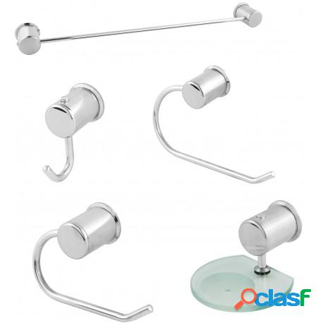 Kit acessórios para banheiro novara em alumínio polido