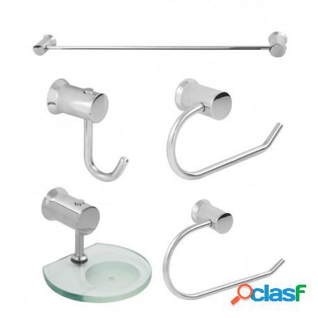 Kit acessórios para banheiro trento em alumínio polido