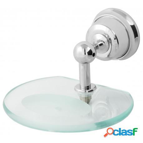 Saboneteira de parede com vidro elegance metal cromado