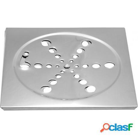 Grelha quadrada em aço inox 15x15 para banheiro com sistema abre e fecha