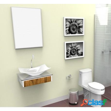 Bancada para banheiro com cuba e espelheira madri 5000