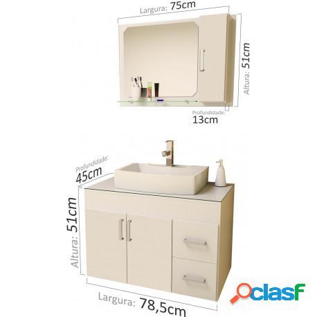 Gabinete para banheiro veneza 80 com espelheira