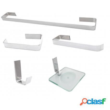 Kit acessórios para banheiro semi luxo athena em vergalhão de alumínio 2,5mm