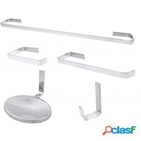 Kit acessórios para banheiro stander athena em vergalhão de alumínio 3x12mm
