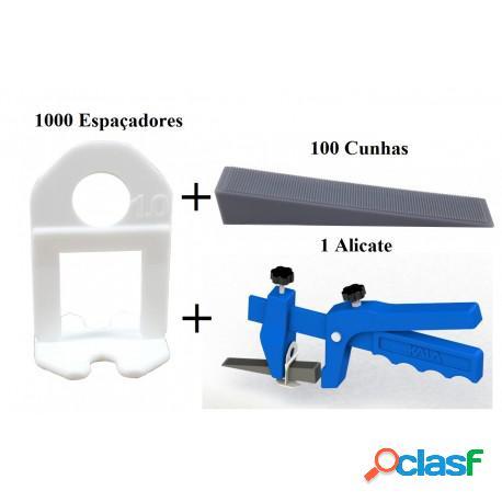 Kit com 1000 espaçador 1mm nivelador de piso + 100 cunha + 1 alicate