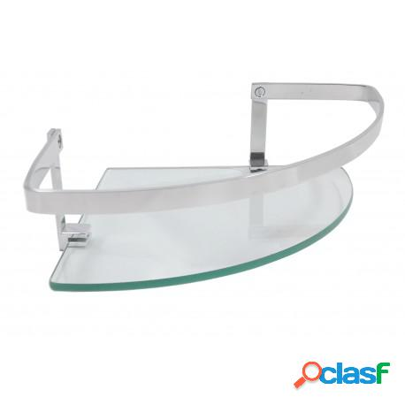 Porta shampoo de canto stander athena com grade e vidro 6mm