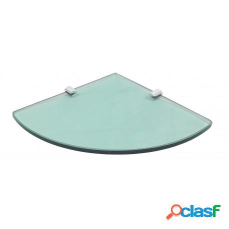 Prateleira de canto 20cm de raio com vidro verde de 8mm