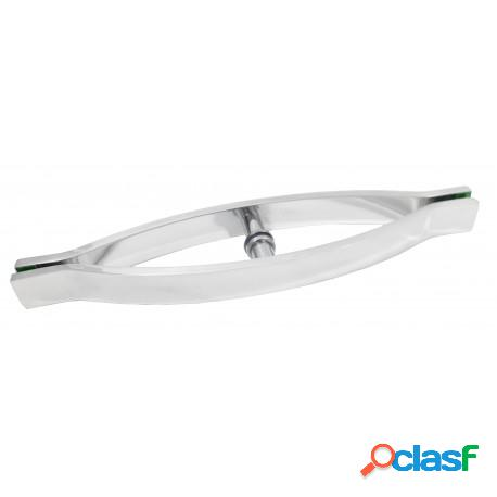 Puxador barra chata um furo em alumínio polido para porta de vidro