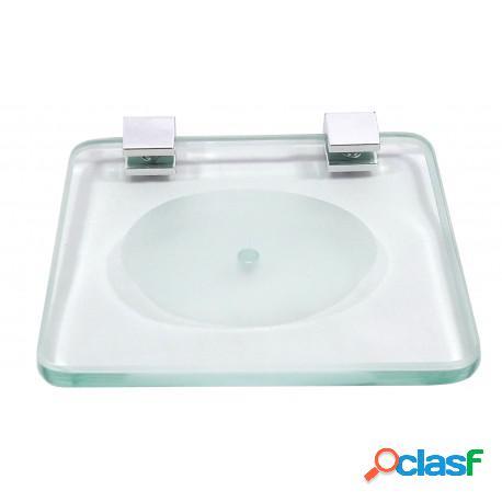 Saboneteira ou porta sabonete vidro e fixador quadrado 8mm