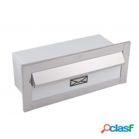 Caixa de correio em inox pequena frente branca e fundo branco