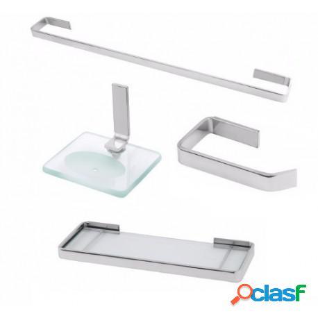 Kit acessórios para banheiro athena 4 peças com porta shampoo