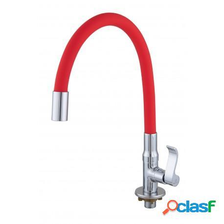 Torneira para pia cozinha mesa/bancada bica movel flexível vermelha c71