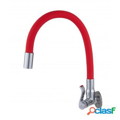 Torneira para pia cozinha parede bica movel flexível vermelha c71
