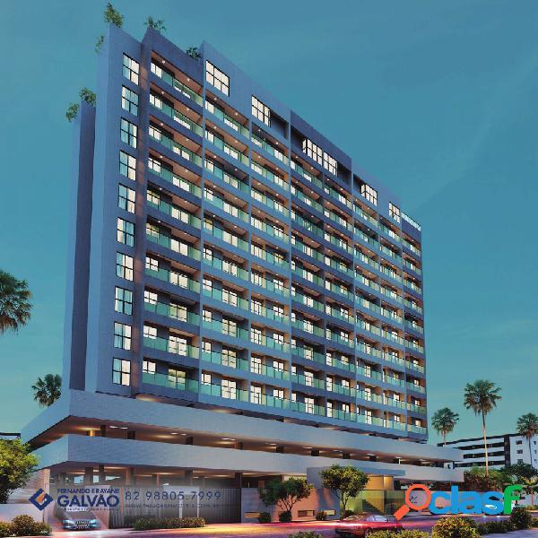 Quarto/sala ÷ em 120 meses 39,84m², 5ª quadra da praia - apartamento a venda no bairro ponta verde - maceió, al - ref.: pi86566