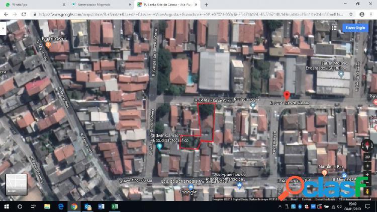 Terreno 400m² c/ casa 175m² região central de guarulhos - terreno a venda no bairro vila pedro moreira - guarulhos, sp - ref.: sc00325