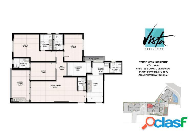 Vista beira mar - apartamento alto padrão a venda no bairro farolândia - aracaju, se - ref.: cl42252