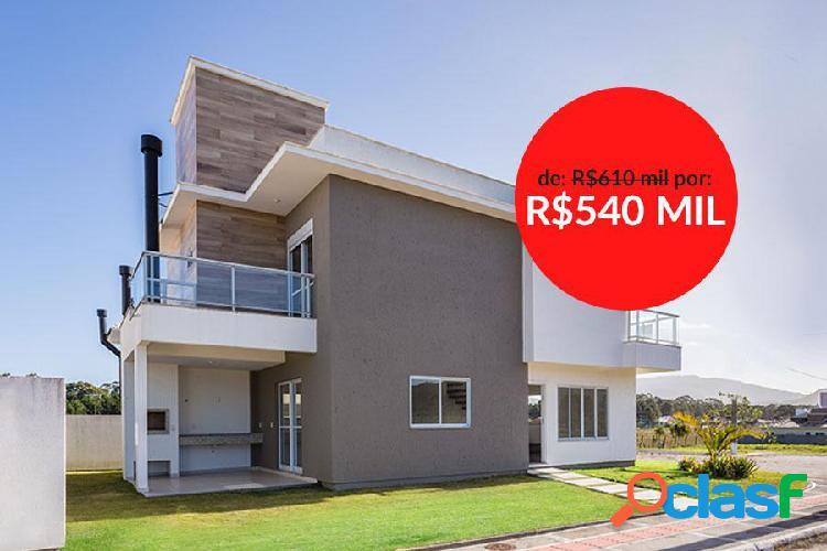 Nova, 03 suítes, ótima localização, financia! - casa a venda no bairro rio vermelho - florianópolis, sc - ref.: da035