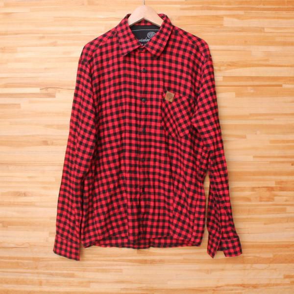 Camisa flanelada xadrez vermelha masculina
