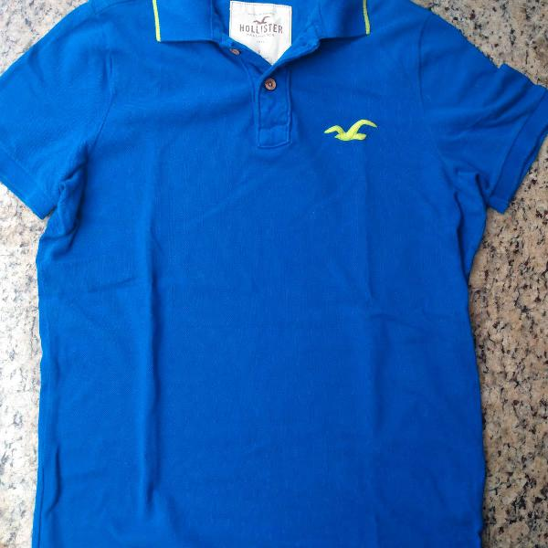Camiseta polo masculina hollister azul - tamanho g
