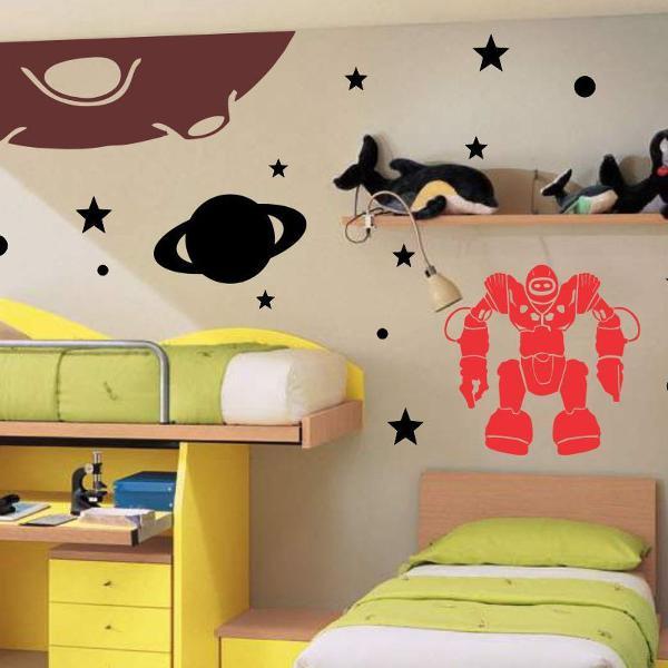 Adesivo planetas robos estrelas para quarto menino