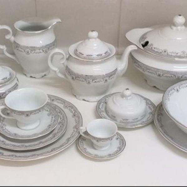 Aparelho de jantar/cafe/cha 96 peças porcelana schmidt