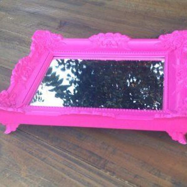 Bandeja provençal espelhada rosa pink